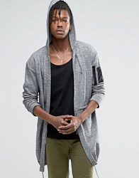 Asos Knitted Parka With Ma1 Pocket Blk White Twist Grey