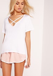 Missguided V Neck Cross Strap T Shirt White White