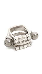 Joomi Lim Modern Muse Crystal Sphere Rings Rhodium Ruthenium