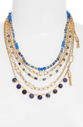 Treasure And Bond 'S Five Layer Stone Necklace Blue Gold