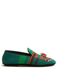 Loewe Needlepoint Slipper With Toes Motif Green Multi