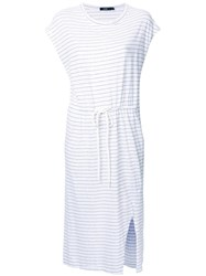 Bassike Striped Drawstring T Shirt Dress White