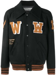 Off White Patch Detail Varsity Jacket Black