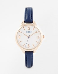 Oasis Subtle Etch Dial Navy Leather Watch