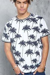 Forever 21 Palm Tree Print Ringer Tee White Black