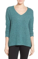 Women's Gibson 'Yummy Fleece' High Low V Neck Pullover Teal Britt