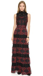 Alice Olivia Briella Maxi Dress Red Lotus Flower