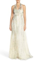 Women's Jenny Yoo 'Annabelle' Print Tulle Convertible Column Gown