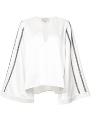 Zeus Dione Embroidered Wide Sleeve Blouse White