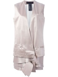 Haider Ackermann 'Amorpha' Layered Hem Waistcoat Nude And Neutrals