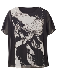 Chesca Abstract Tunic Top Black