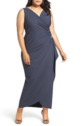 Alex Evenings Plus Size Women's Embellished Side Ruched Gown