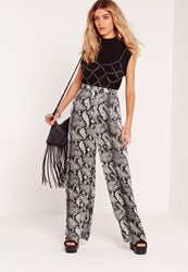 Missguided Snake Print Wide Leg Trousers Multi Multi