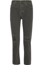 Mother The Cheeky Distressed High Rise Straight Leg Jeans Anthracite