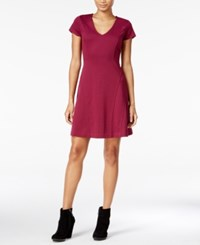 Maison Jules Short Sleeve Fit And Flare Dress Only At Macy's Cherry Plum