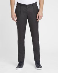 M.Studio Charcoal Laurent Wool Flannel Trousers Grey