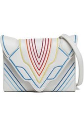Elena Ghisellini Woman Felina Embroidered Textured Leather Shoulder Bag Off White Off White