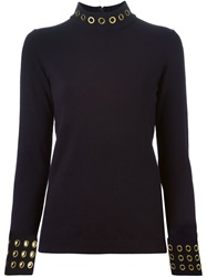 Tory Burch Eyelets Turtle Neck Sweater Blue