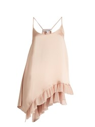 Elizabeth And James Angela Ruffle Trimmed Satin Cami Top Nude