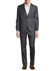 Black Brown Windowpane Wool Suit Muted Charcoal