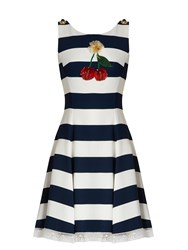 Dolce And Gabbana Cherry Embellished Striped Cady Dress Navy White