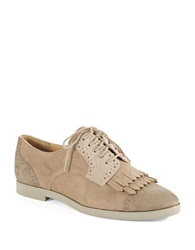 Enzo Angiolini Fireballe Suede Saddle Shoes Beige