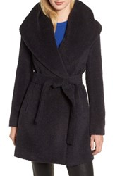 Trina Turk Grace Hooded Wrap Walker Coat Navy Melange