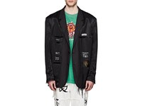 Vetements Satin Oversized Inside Out Two Button Sportcoat Black