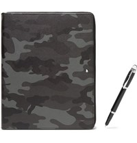 Montblanc Augmented Paper Leather Portfolio And Starwalker Resin And Platinum Plated Ballpoint Pen Set Black