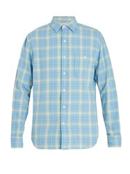 Faherty Seaview Checked Cotton Shirt Blue