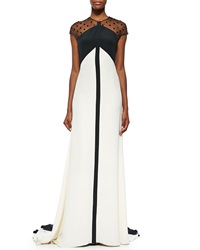 Lela Rose Beaded Sheer Back Colorblock Gown Black Ivory