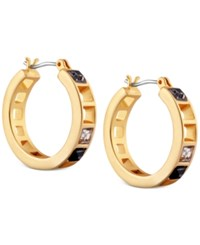 T Tahari Gold Tone Scattered Crystal Earrings