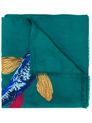 Paul Smith Embroidered Fish Scarf Green