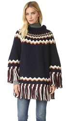 Red Valentino Hooded Fringe Sweater Blue
