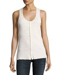 Rag And Bone Tyler Scoop Neck Snap Front Tank Top White