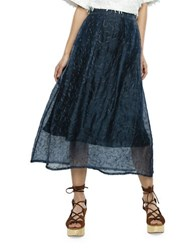 Where Mountains Meet Puzzle Patterned Silk Skirt Navy