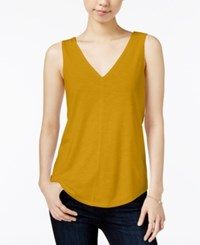 Maison Jules V Neck Sleeveless Top Only At Macy's Maize Gold