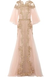 Marchesa Embellished Embroidered Tulle Gown Pastel Pink
