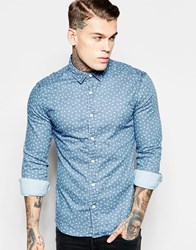 Asos Skinny Shirt In Ditsy Print With Long Sleeves Blue