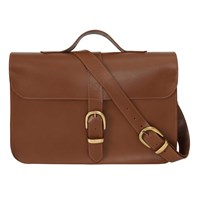 N'damus London Fenchurch Tan Leather Briefcase Brown