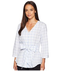 Ivanka Trump Gingham Wrap Top Blue Ivory Clothing Gray