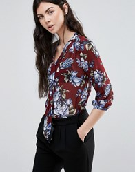 Madam Rage Floral Pussy Bow Blouse Wine Red