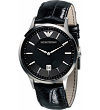 Emporio Armani Ar2411 Stainless Steel And Leather Watch Black