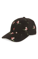 Collection Xiix Floral Embroidered Baseball Cap Black