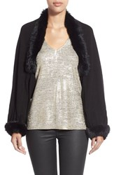 Women's La Fiorentina Wool And Cashmere Capelet With Genuine Rabbit Fur Trim Black