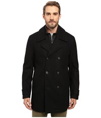 Marc New York Cushing Pressed Wool Peacoat W Removable Quilted Bib Black Men's Coat
