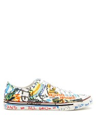 Vetements Graffiti Print Low Top Leather Trainers White