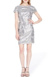 Tahari Petite Women's Sequin Floral Sheath Dress Dove Grey