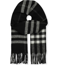 Burberry Giant Check Cashmere Blend Metallic Reversible Scarf Black