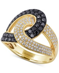 Effy Collection Caviar By Effy Black And White Diamond Crossover Ring In 14K Gold 1 Ct. T.W. Yellow Gold